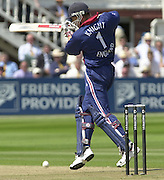 .13/07/2002.Sport - Cricket -NatWest Series Final- Lords.England vs India. Nick Knight, cuts the ball into the ground.
