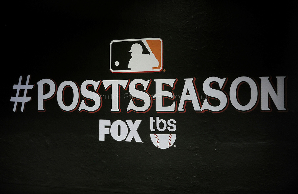 Oct. 5 2011; Phoenix, AZ, USA; A general view of the postseason signage in the dugout before game four of the 2011 NLDS between the Milwaukee Brewers and Arizona Diamondbacks at Chase Field. Mandatory Credit: Jennifer Stewart-US PRESSWIRE