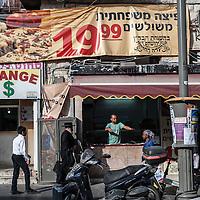 A scene along Mea Sharim Street in the Mea Sharim neighborhood of Jerusalem