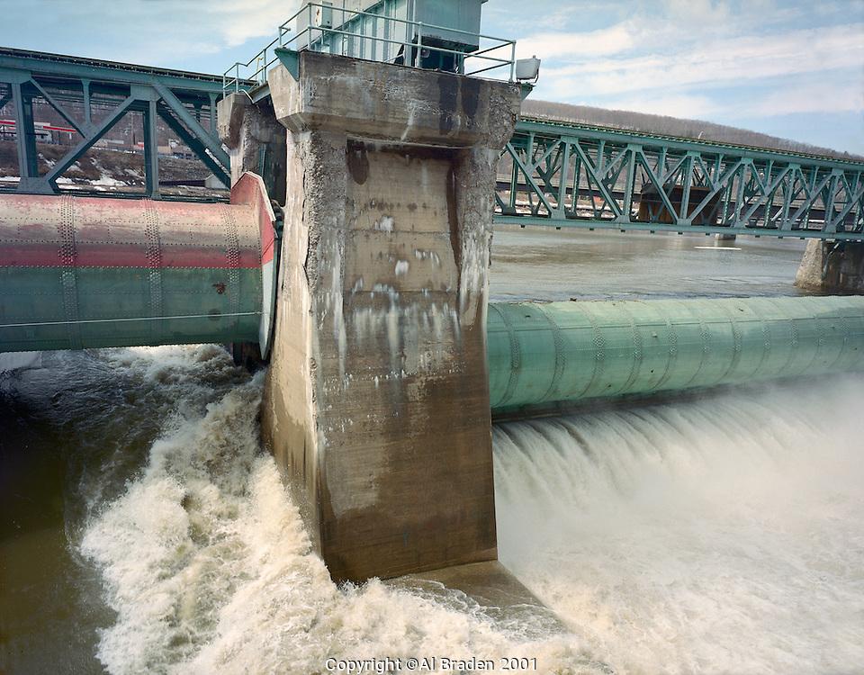 Center of Bellows Falls Dam on the Connecticut River, Gates Up, Bellows Falls, VT