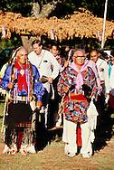 Kiowa Chief George Tahbone leads Grass Dance at powwow in Anadarko, Oklahoma