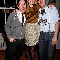 """Brian Wolk, Anne Koch and Claude Morais attend the opening of """"Lady"""" by Douglas Friedman at the Ruffian Gallery on April 23, 2009 in New York City."""