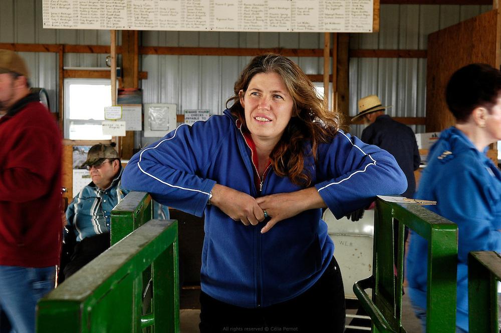 DANJO Farms, Joanne Nelson sur une vente aux enchères de fruits et légumes cultivés par les fermiers Amish locaux.