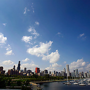"SHOT 9/7/2007 - The Chicago, Ill. skyline as seen from a vantage point near the Shedd Aquarium. Chicago is the largest city in the state of Illinois, the largest in the Midwest and, with a population of nearly 3 million people, is the third largest in the United States. Chicago is a city rich in history and also renowned for its architecture. Chicago attracts about 33 million visitors annually from around the world and nation. Upscale shopping along the Magnificent Mile, thousands of restaurants, as well as Chicago's eminent architecture, continue to draw tourists every year. Includes images from the Shedd Aquarium, the Magnificent Mile and Millenium Park (Including Cloud Gate aka ""The Bean"" and Crown Fountain)..(Photo by Marc Piscotty © 2007)"