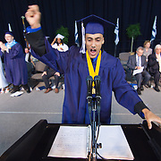 052511Newark DE: 052511-DelcastleTechHSgraduation-SS.  Delcastle Senior Class President Benjamin Figueroa yells out congratulations his class during Delcastle Tech High School Tassel Ceremony Wednesday, May 25th 2011, at The Bob Carpenter Center in Newark Delaware...Special to The News Journal/SAQUAN STIMPSON