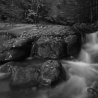 This intimate black and white landscape photography image of Flume Brook at Franconia Notch State Park near Lincoln in the New Hampshire White Mountains region features silky water tumbling down the creek during New England fall foliage season. Table Rock is a small section of Conway granite in this New Hampshire State Park that was exposed and outcropped of hundreds of years. This scenic New Hampshire cascading water section is 500 feet long and 75 feet wide.<br />