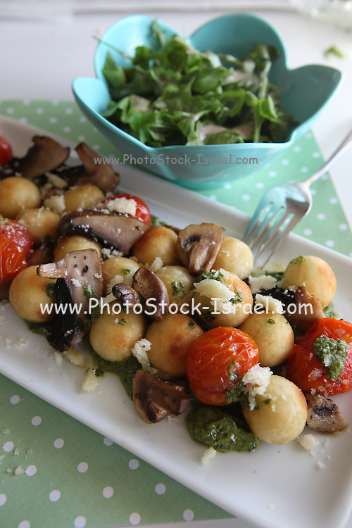 A plate of Italian style Antipasti with Courgette, Mushroom, Aubergine, Onion and Garlic