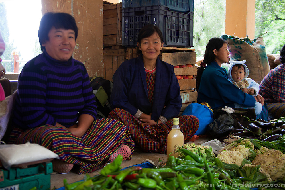 Asia, Bhutan, Trongsa. Local market women at Trongsa.