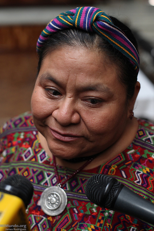 Former Nobel Peace Prize Laureate Rigoberta Menchu declares inside Guatemala's Supreme Court of Justice on the day when the long awaited Genocide trial begins against former de facto dictator Efrain Rios Montt and his head of Intelligence Jose Mauricio Rodriguez Sanchez. Guatemala, Guatemala. March 19, 2013.