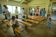 Congregation at a church in Lutes village. Uleveo, Maskelyne Island, Malampa Province, Malekula, Vanuatu