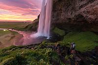 Seljalandsfoss waterfall in south-Iceland.