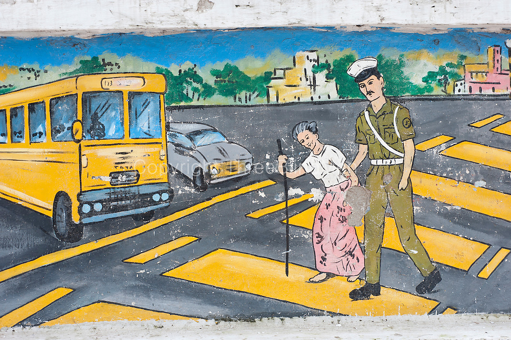 Painting on wall of a Police Station in Bloemendhal, Colombo.