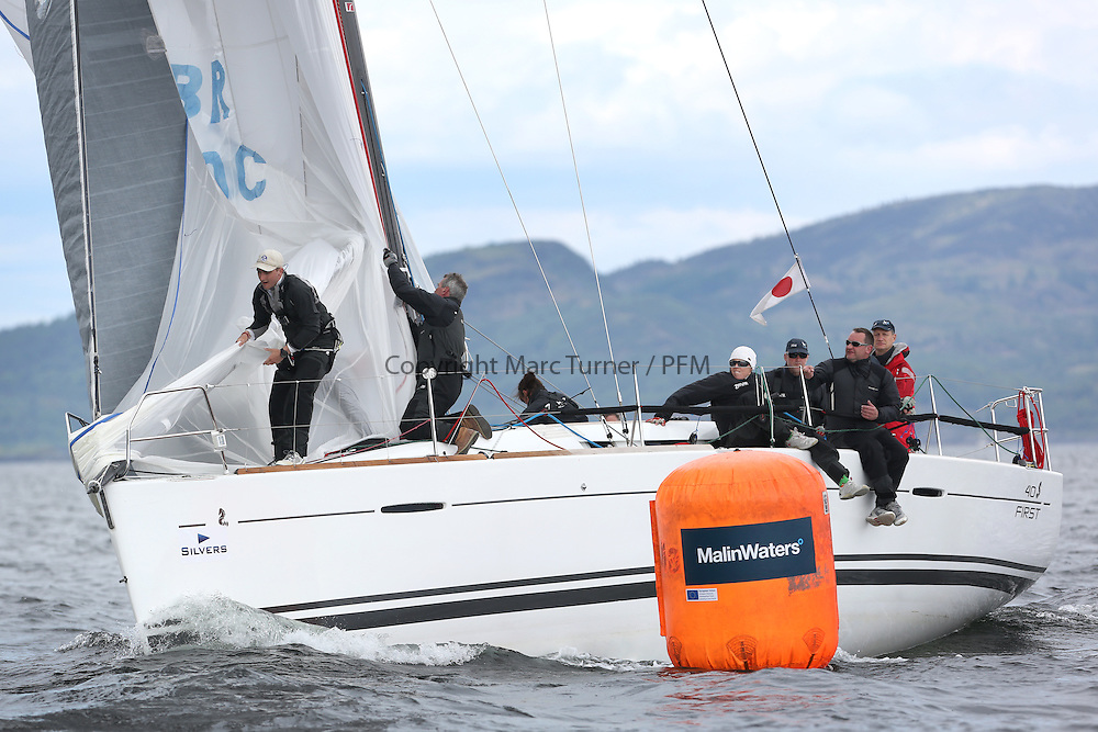 The Silvers Marine Scottish Series 2014, organised by the  Clyde Cruising Club,  celebrates it's 40th anniversary.<br /> Day 2, GBR8140C ,Zephyr, S Cowie/ I Marshall, CCC/FYC/RGYC ,First 40<br /> Racing on Loch Fyne from 23rd-26th May 2014<br /> <br /> Credit : Marc Turner / PFM
