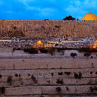 Jerusalem's Dome of the Rock and Old City walls shortly before dawn.