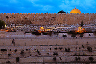 Jerusalem's Dome of the Rock and Old City walls shortly before dawn. WATERMARKS WILL NOT APPEAR ON PRINTS OR LICENSED IMAGES.