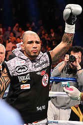 Dec 1, 2012; New York, NY, USA; Miguel Cotto enters the ring for his 12 round WBA Super Welterweight Championship bout against Austin Trout (not shown) at Madison Square Garden.