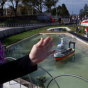 Abigail Airth, 9, listens as her grandmother Janet Airth from Lakeland, Florida shows her Miniland in the new theme park Legoland in Whitehaven, Florida on February 11, 2012.