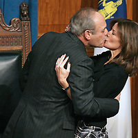 (012709  Boston, MA)  Speaker of the House Sal DiMasi kisses his wife, Debbie, following his farewell address in the House Chambers at the Statehouse, Tuesday,  January 27, 2009.   Photo by Angela Rowlings.