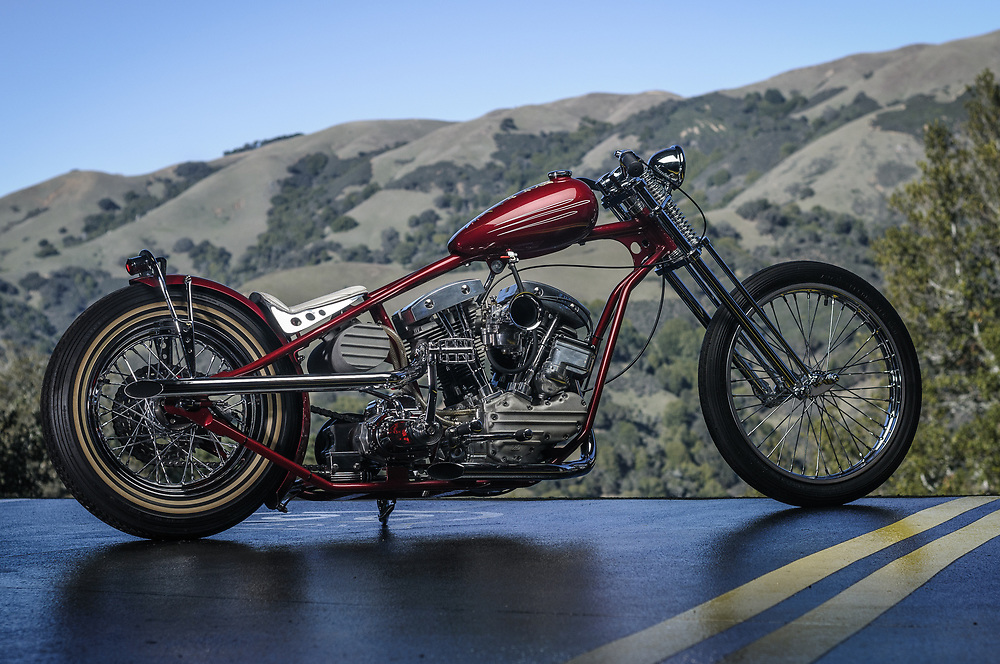 Stretched flathead chopper in Northen California   personal collection of James Hetfield