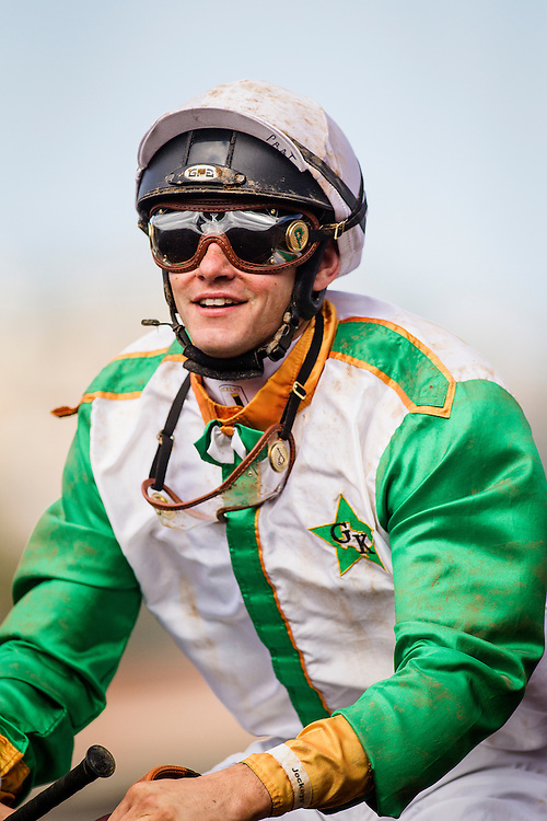 "July 26 2015: Jockey,Flavian Prat smiles after winning the Bing Crosby Stakes, a Breeders' Cup ""Win and You're In"" race aboard Wild Dude at Del Mar Race Course in Del Mar CA. Alex Evers/ESW/CSM"