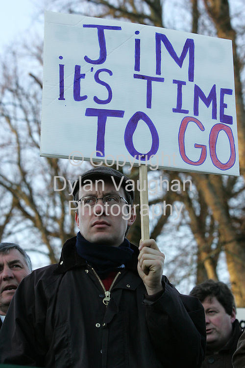 11/1/2006.Micheal Doran from Duncormack County Wexford pictured at the IFA  demonstration  at the Teagasc Board Meeting at Mount Juliet Conrad in Thomastown in County Kilkenny yesterday.The protest is being held over the Nitrates Directive..Picture Dylan Vaughan.