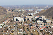 The Coors Brewery dominates the town of Golden, CO, seen from above on Lookout Mountain.