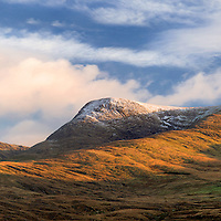 Snow on Peak Panorama in Kerry HIghlands with cottages and fresh winterlight sunset, Iveragh Peninsula, Ireland / ba016