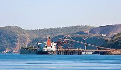 A foreign ship collecting iron ore from the shiploader at Koolan Island.