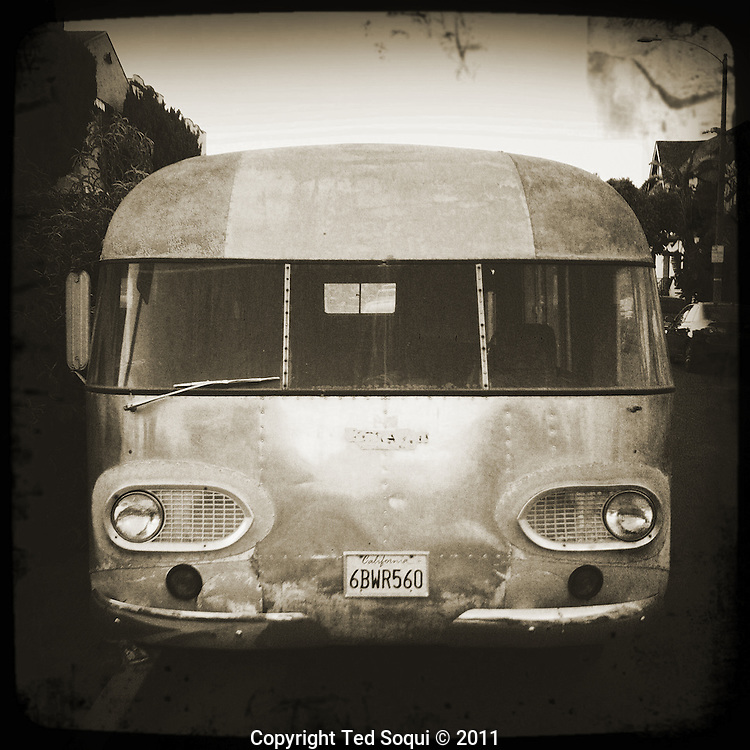 A vintage motorhome in the Fairfax district of L.A.