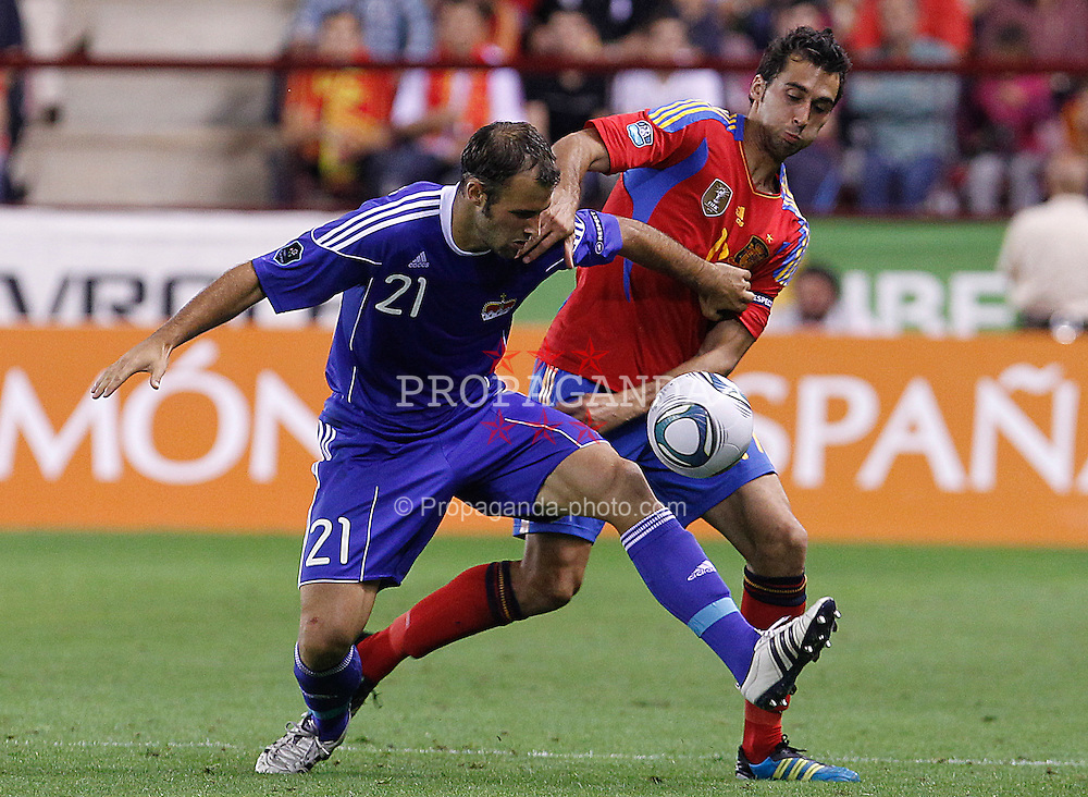 06.09.2011, Logrono, ESP, UEFA EURO 2012, Qualifikation, Spanien vs Lichtenstein, im Bild Spain's Alvaro Arbeloa (r) and Liechtenstein's Marco Ritzberger during Euro 2012 qualifier match.September 6,2011.. EXPA Pictures © 2011, PhotoCredit: EXPA/ Alterphoto/ Acero +++++ ATTENTION - OUT OF SPAIN/(ESP) +++++