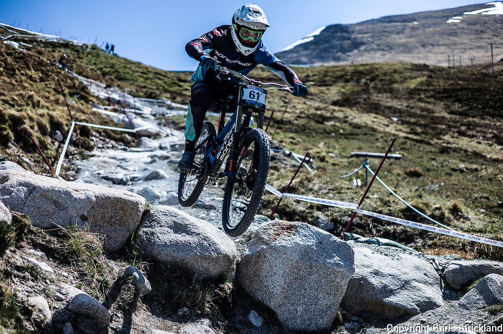 Nevis Range, Fort William, Scottish Highlands, UK. 14th May 2016. Markus Pekoll competes in the British Downhill Series on Nevis Range in the Scottish Highlands.