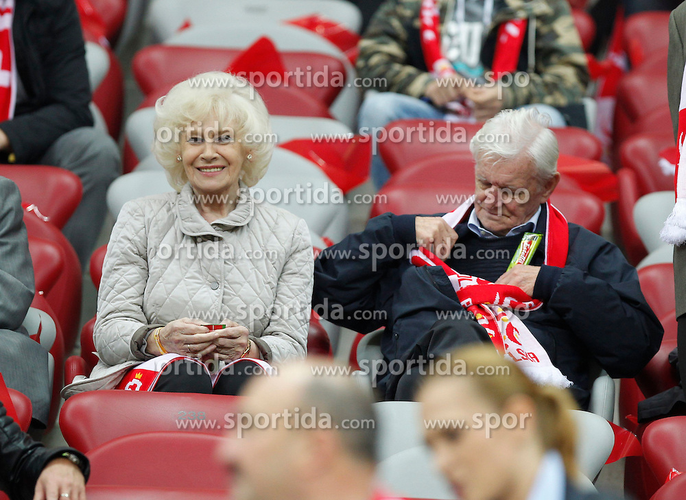 14.10.2014, Nationalstadium, Warsaw, POL, UEFA Euro Qualifikation, Polen vs Schottland, Gruppe D, im Bild KRZYSTYNA LOSKA HENRYK LOSKA // during the UEFA EURO 2016 Qualifier group D match between Poland and Scotland at the Nationalstadium in Warsaw, Poland on 2014/10/14. EXPA Pictures &copy; 2014, PhotoCredit: EXPA/ Newspix/ Michal Chwieduk<br /> <br /> *****ATTENTION - for AUT, SLO, CRO, SRB, BIH, MAZ, TUR, SUI, SWE only*****