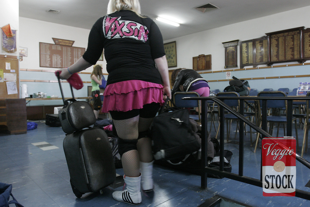 Women wrestlers before a PWWA show at the Liverpool Masonic Centre in Sydney, Saturday, July 28, 2007.