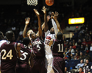 "Ole Miss' Maurice Aniefiok (12) shoots vs. Louisiana Monroe at the C.M. ""Tad"" Smith Coliseum in Oxford, Miss. on Friday, November 11, 2011. Ole Miss won 60-38 in the season opener."