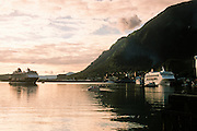 Alaska. Juneau. Cruise ships docked downtown.