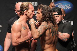 Atlantic City, NJ - June 21, 2012: Gray Maynard (left) and Clay Guida (right) pose at the weigh-ins for UFC on FX 4 at Ovation Hall at Revel Resort & Casino in Atlantic City, New Jersey.