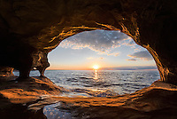 A summer sunset from a Lake Superior Cave<br /> Michigan's Upper Peninsula
