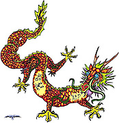 Red Chinese Dragon design origially for a tattoo with Chinese words imbedded in the design.