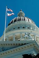 California State Capital Building, Sacramento, American and California Flags