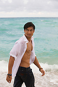 Asian American man at the beach in Fort Lauderdale, Florida