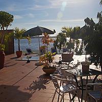 Central America, Cuba, Cienfuegos. Perla del Mar boutique hotel terrace.