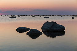 Stony coastline after sunset. Käsmu, Baltic sea in Estonia