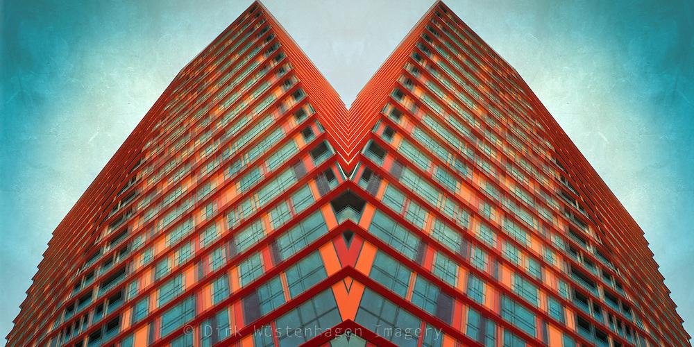 Manipulated image of a skyscraper