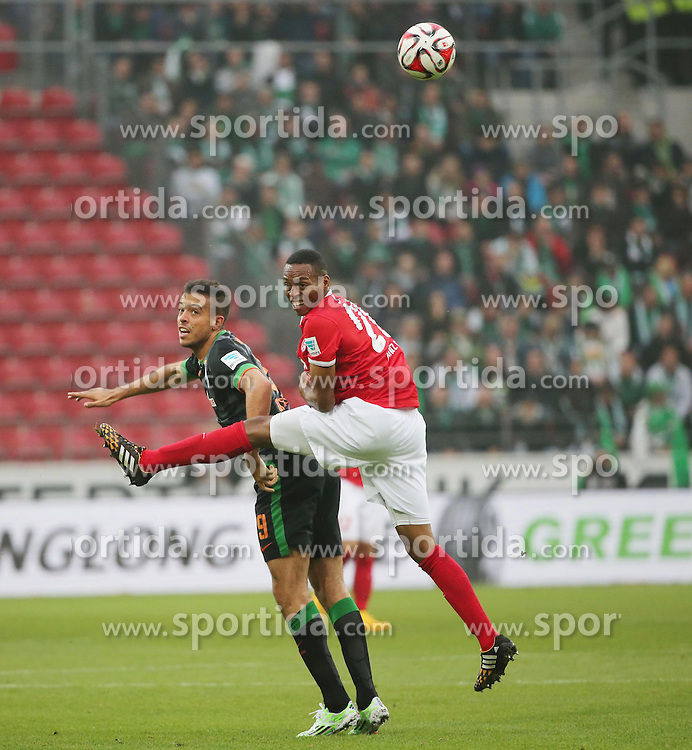01.11.2014, Coface Arena, Mainz, GER, 1. FBL, 1. FSV Mainz 05 vs SV Werder Bremen, 10. Runde, im Bild v.l.: Franco Di Santo (Bremen) gegen Junior Diaz (Mainz) // during the German Bundesliga 10th round match between 1. FSV Mainz 05 and SV Werder Bremen at the Coface Arena in Mainz, Germany on 2014/11/01. EXPA Pictures &copy; 2014, PhotoCredit: EXPA/ Eibner-Pressefoto/ Neurohr<br /> <br /> *****ATTENTION - OUT of GER*****