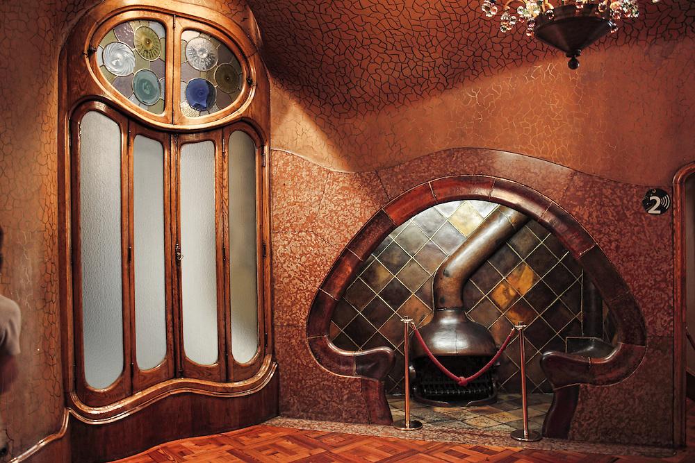 The lobby of La Pedrera, Barcelona, by Antoni Gaudi.