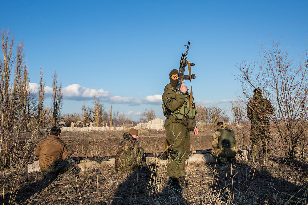 Members of the Azov Brigade attend weapons training at one of the group's training grounds on Saturday, March 7, 2015 in Kulykivske, Ukraine. Photo by Brendan Hoffman, Freelance