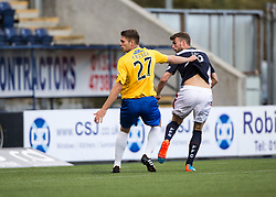 Falkirk's Rory Loy scoring their first goal.<br /> Falkirk 6 v 0 Cowdenbeath, Scottish Championship game played at The Falkirk Stadium, 25/10/2014.