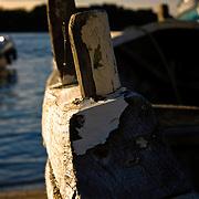 Old norwegian wooden klinkerbuilt rowboat, Rogaland, Norway.