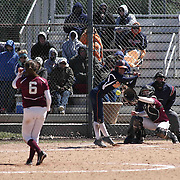 Caravel Academy Pitcher Holly Brooks (6) pitches inside to Delmar Wildcats Outfielder Shelby Murphy (2) during a varsity scheduled game between Caravel Academy and The Delmar Wildcats Saturday, April 4, 2015, at Caravel Athletic Field in Bear Delaware.