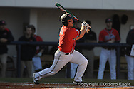Mississippi's Zach Miller drives in two runs vs. Oakland in Oxford, Miss. on Friday, February 26, 2010. Ole Miss won 9-1.